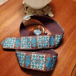 BOHO belt with  Tortoise buckle  Turquoise